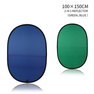 Image 3 - 100cmX150cm Collapsible Nylon Oval Reflector 2 in 1 Blue and Green Background Board Folding Backdrops Photo Studio Accessories