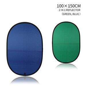 Image 3 - 100cmX150cm składany nylonowy owalny reflektor 2 w 1 niebieski i zielony tło deska składane tła akcesoria do studia fotograficznego