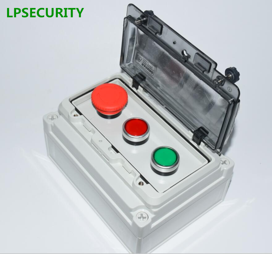 цена на LPSECURITY IP67 outdoor Red Mushroom Green Flat Momentary Push Button Switch Control Station gate opener lathe machine