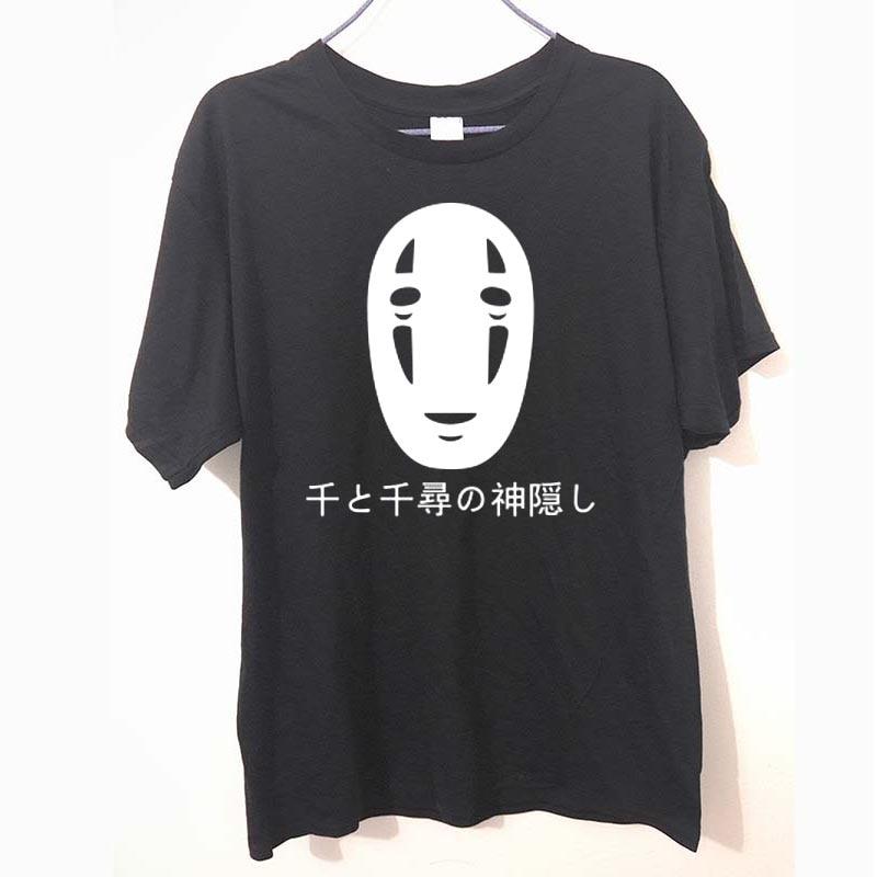 Japanese Style Spirited Away Letters Print T Shirt Cotton Short Sleeve Faceless Harajuku T-Shirt Summer Fashion Tops Tees
