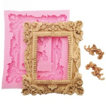 European Retro Rose Lace Frame Blessing Card Dry Pais Chocolate Clay Silicone Mold