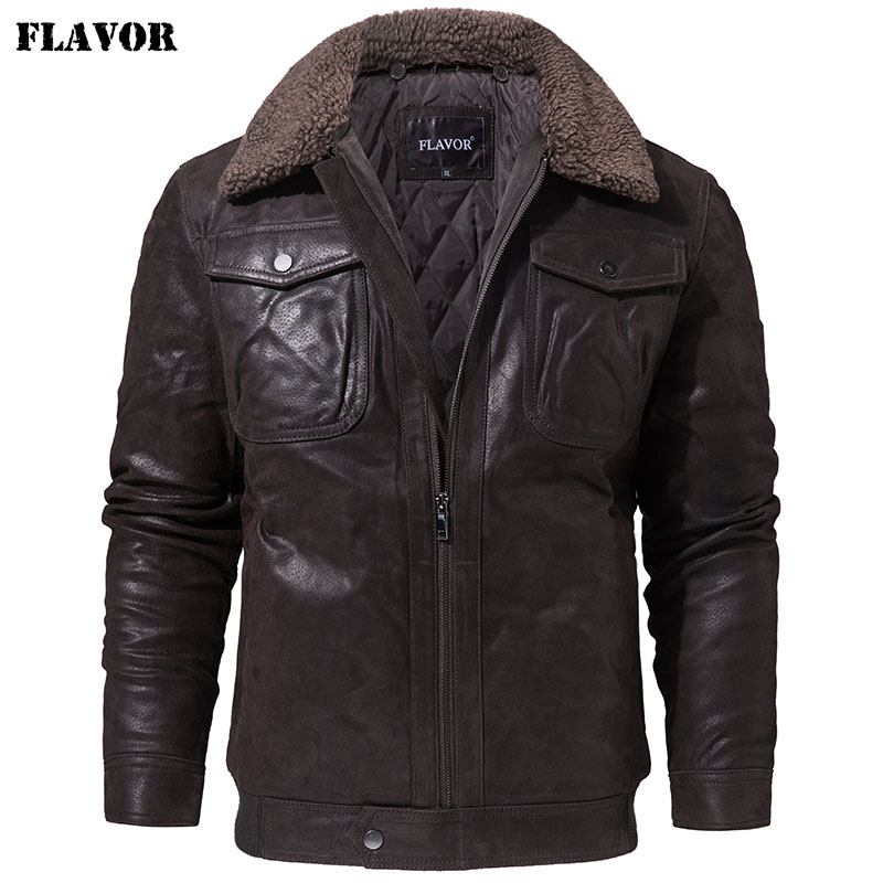 FLAVOR Men's Real Leather Jacket Genuine Leather Jacket With Faux Fur Collar Male Motorcycle Warm Coat Genuine Leather Jacket(China)