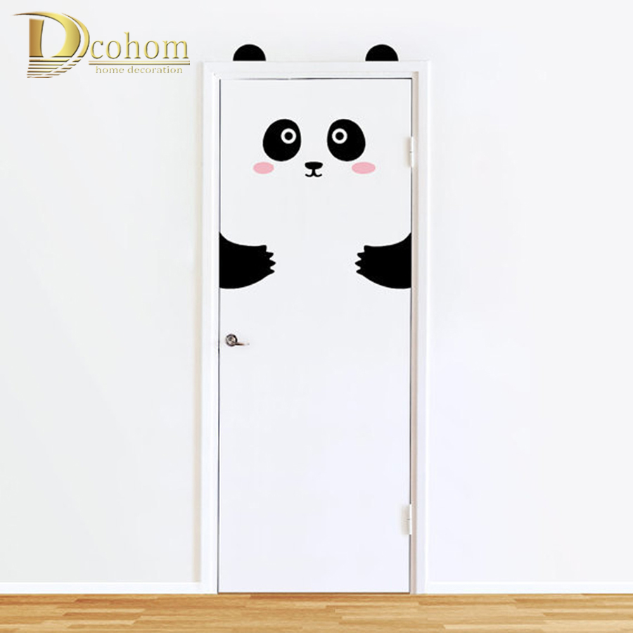 Nordic Style Animals Panda Rabbit 3D Wall Stickers For Kids Rooms Door Home Decoration Sticker Refrigerator Removable Art Poster