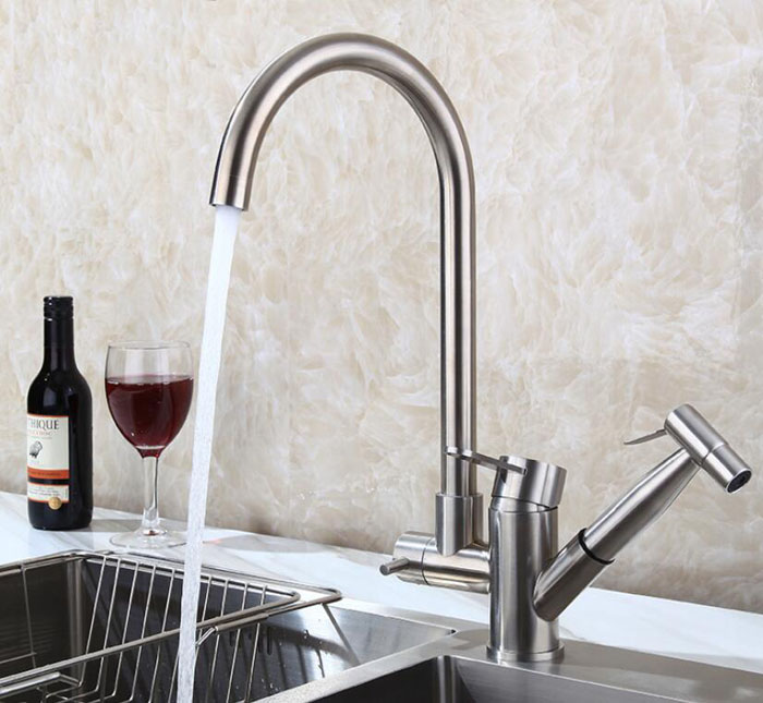 Brushed Nickel Kitchen Faucet Modern Kitchen Mixer Tap Stainless Steel Deck  Mounted Hot And Cold Kitchen ...