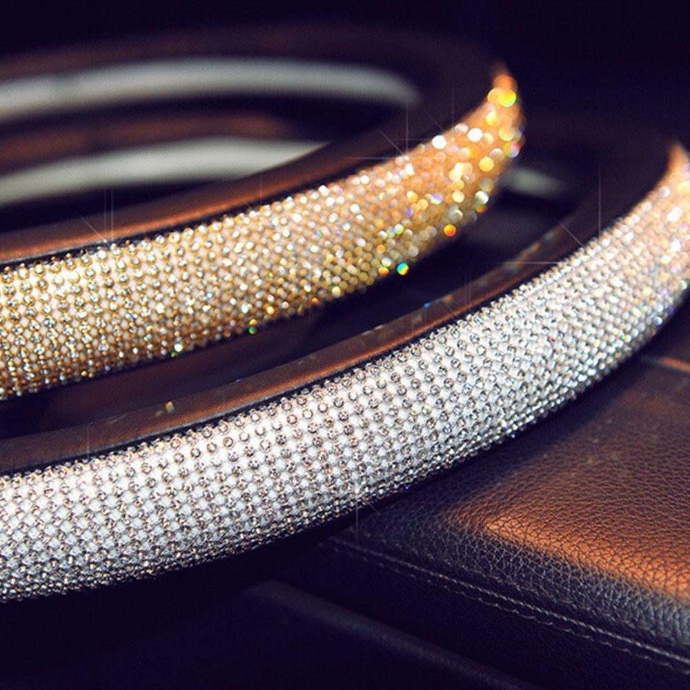 Рулевое колесо оплетка Руль крышка универсальный руль декоративная обертка защита с красивые кристаллы PU