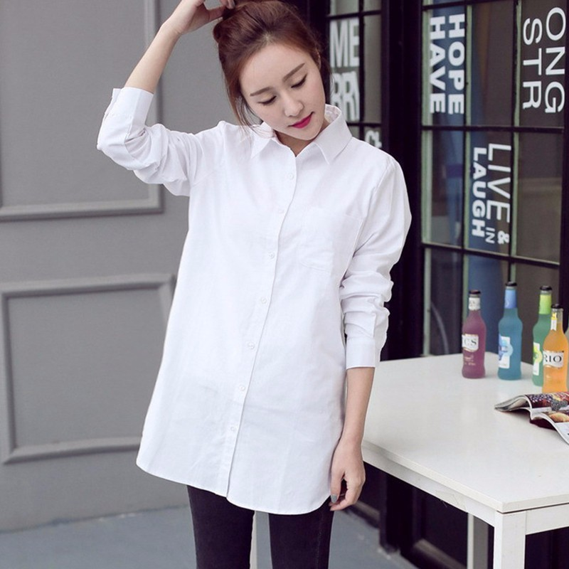 TWOTWINSTYLE Basic Shirt Tops Female Striped Long Sleeve Plus Size White Blouse For Women Spring Summer 2018 Fashion OL Clothing 3