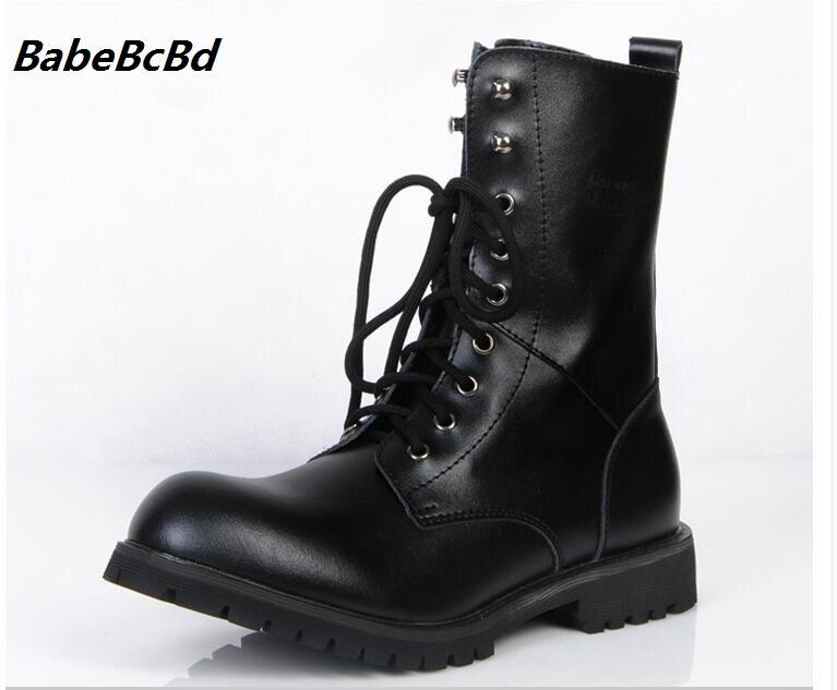 La Mode Fur Hommes Paires Fur Bottes En Moto No Chaussures Martin Automne Cuir De Militaire Black Véritable black À qPUpxAwvtn