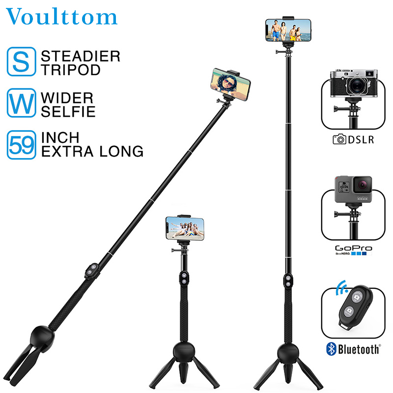 Voulttom Selfie Stick Bluetooth with a Free Tripod Remote Control Shutter Foldable Selfie Stick monopod for iphone Xiaomi Huawei