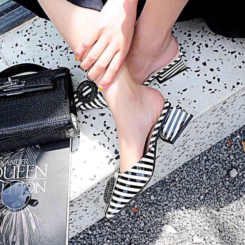Mules 5 Rayé D'été Talons Ksjywq Heels Ou Pantoufles Chaussures Robe La Chunky Emballage Femmes Femme Cm 2 F819 En À 1 1 Plus Cuir Heels Boîte Taille FqIPrWz0P