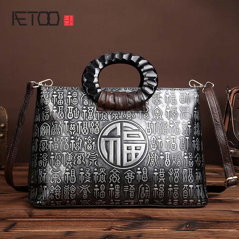 AETOO brand The New Retro hand brush color handbag head layer leather casual bag messenger bags Chinese style real leather women