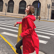 Spring Autumn Hooded Trench Coat Women Causal Long Sleeve Medium Long Drawstring Waist Outerwear Casaco Feminino drawstring waist letters embroidered multi pocket hooded long sleeves thicken coat for men