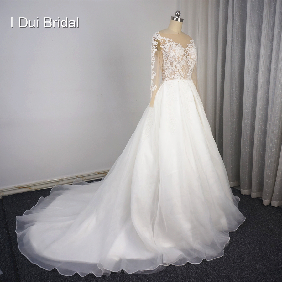 Illusion Long Sleeve Detachable Skirt Wedding Dresses Lace Appliqued Short Inside Long Outside High Quality Bridal Gown