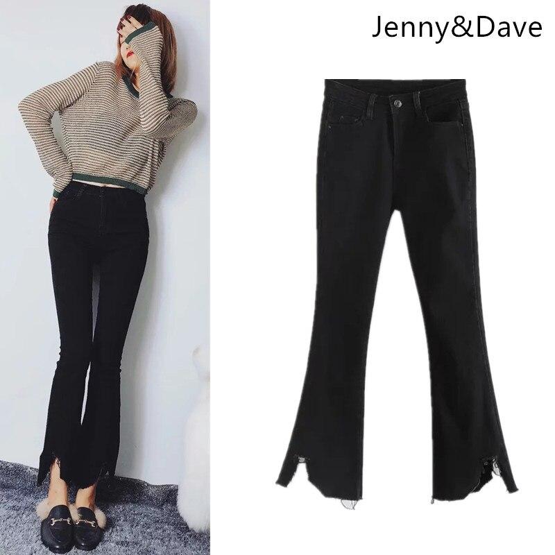 Jenny et Dave jeans femmes high street jeans élastiques souples ripper trou maigre solide pancil jeans lavés pour les femmes plus taille 0906