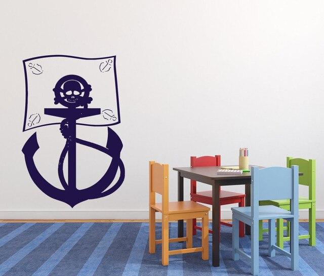 Muurstickers Kinderkamer Piraat.Cartoon Muursticker Piraat Vlag Zee Bandieten Anker Schedelbeenderen