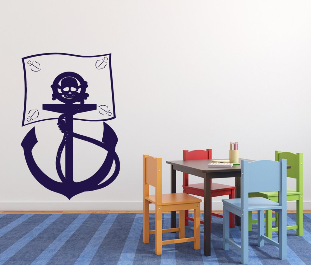 Pirate bathroom decor - Cartoon Wall Sticker Pirate Flag Sea Bandits Anchor Skull Bones Kids Room Removable Decor Vinyl Wall Decal For Bathroom Za975