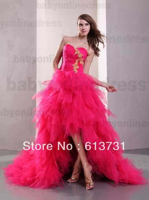 50636af156e Hi-Lo Prom Dresses 2013 Sexy New Hot Pink Sweetheart Applique Tulles Short  Front Long Back Pageant Ball Gown Dresses DH003842