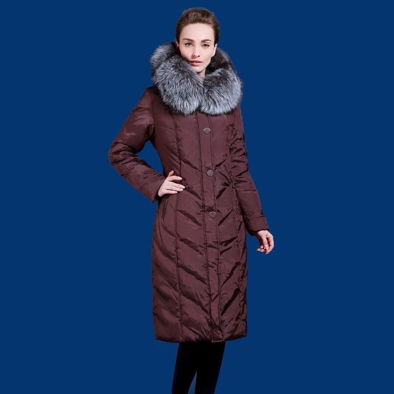 Зимняя пуховая куртка для женщин Длинный дизайн Silver Fox меховой воротник пуховики Европы и США минус 40 градусов теплая куртка q704a