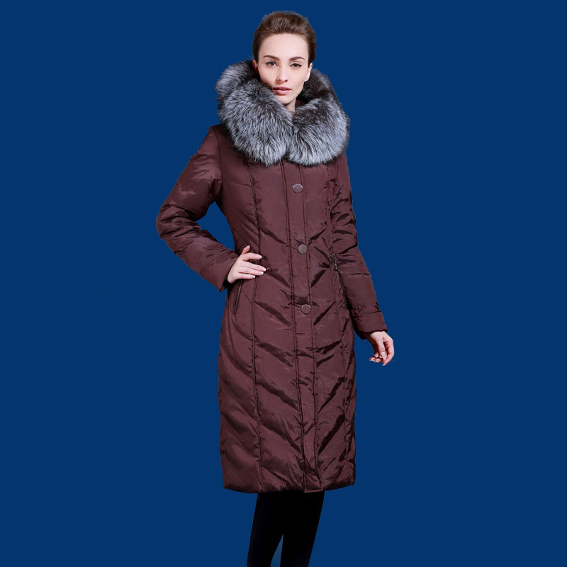 Winter down jacket for women long design Silver fox fur collar down coats Europe and USA minus 40 degrees warm jacket Q704A