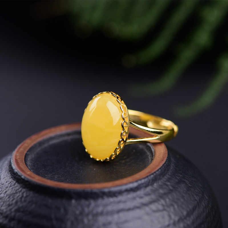 Aceite de pollo cera de abejas amarillo Rosa oro plata anillo lleno de miel ámbar piedra 925 Plata mujeres vivos.