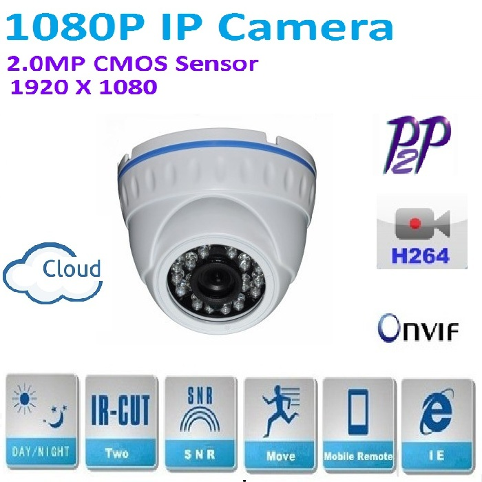 New type 1920*1080P 2.0MP Mini Dome 1080P IP Camera ONVIF H.264 P2P Indoor IR CUT Night Vision Android and ios Plug and Play 4 in 1 ir high speed dome camera ahd tvi cvi cvbs 1080p output ir night vision 150m ptz dome camera with wiper