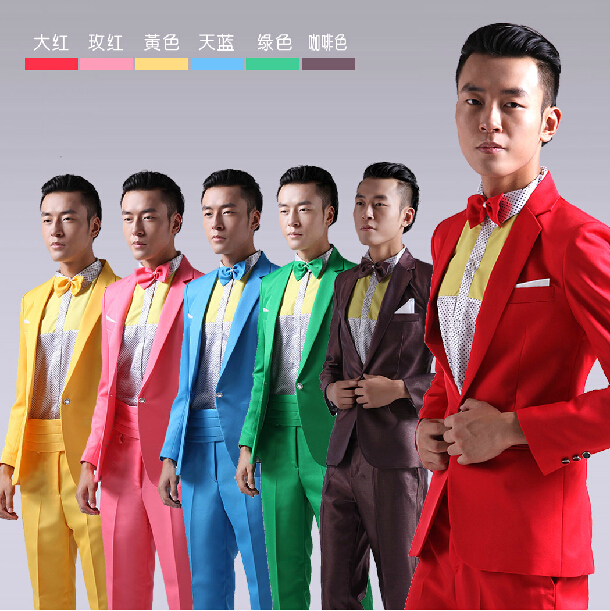 Fashion 2 Pieces Set Business Casual Mens Suits With Pants Costume Homme Colorful Wedding Suits Groom Dress Singer Tuxedo