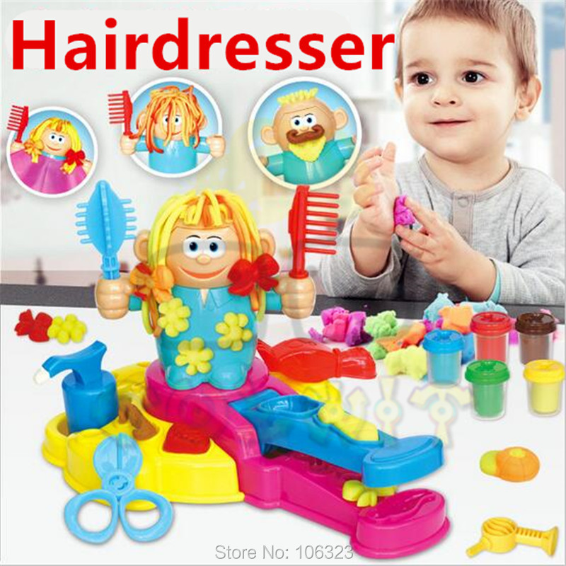 New Fashion Hairdresser Colour Clay Toys, Hair Grow/Design/Cut/Comb Plasticine and Tool Kit, DIY Playdough Molding, Girl's Favor 1000g dynamic amazing diy educational toys plasticine indoor magic play do dry sands mars space sands color clay for kids