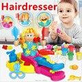 Nova Moda Cabeleireiro Cor Brinquedos de Barro, cabelo Crescer/Design/Corte/Pente Plasticina e Kit de Ferramentas, DIY Playdough Molde, a Favor da menina