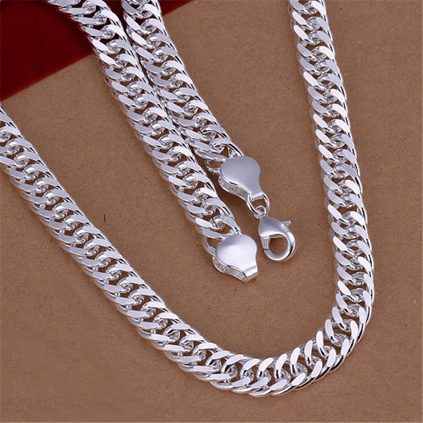 New listing Mens 10MM full sideways silver plated Necklace