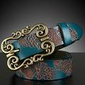 New Fashion Women genuine leather belt female vintage cowhide Emboss belt national trend all-match strap