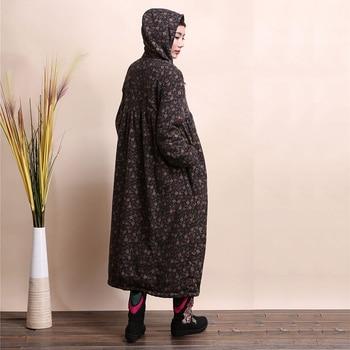 LZJN Fashion Winter Jacket Hooded Chinese Style Brushed Women Coat Mori Girl Wool Outerwear Small Flower Long Jacket Bayan Kaban 8