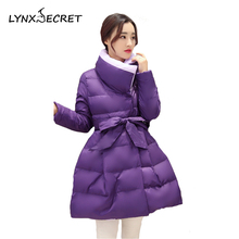 Adjustable Bow Belt Thick warm coat women winter jacket dress skirt heavy stand collar slim solid Long parkas Big size
