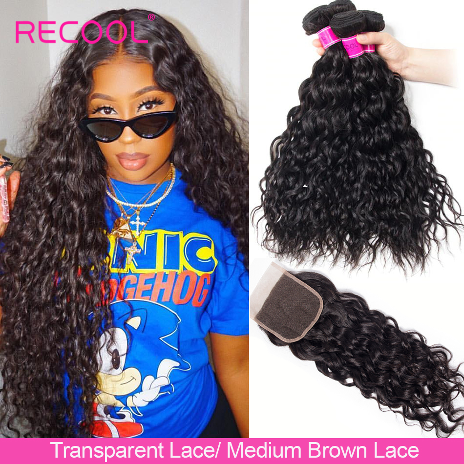 Recool Water-Wave-Bundles Closure Human-Hair Transparent Lace With Weave