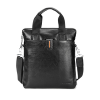 GearBAND 2018 Men's Fashion Business Genuine Real Leather Casual Zipper Middle Capacity Design Cowhide Leather Computer Hand Bag