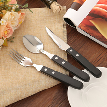 18pcs/lot Wood Handle Creative Cutlery set Stainless steel Party Dinnerware Korean Flatware Knife Fork Spoon Kitchen Tableware
