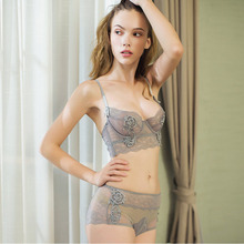 Yhotmeng New arrival 2018 adjusted thin cup lingerie bra set underwear women push up transparent embroidery sexy
