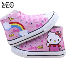 Pink Cartoon Cat Baby Children Canvas Shoes High Top Captain America Shoes Boys Girls Student Unisex Sport Sneakers Graffiti