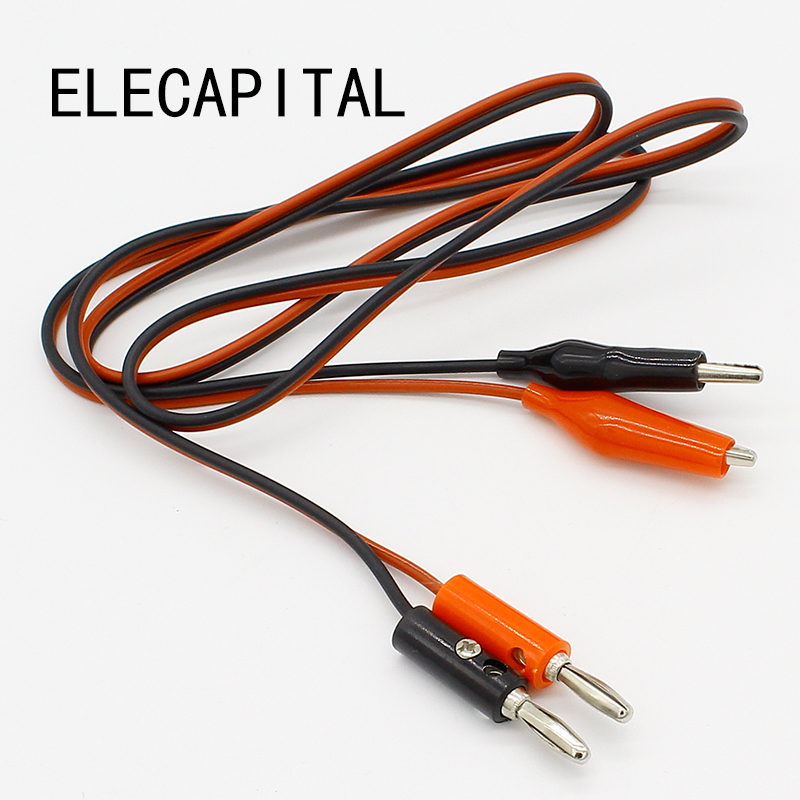 4mm Injection Banana Plug To Shrouded Copper Electrical Clamp Alligator Clip Test Cable Leads 1M For Testing Probe 20 pcs black red soft plastic coated testing probe alligator clips crocodile test clip leads electrical equipment supplies