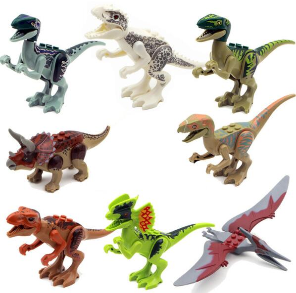 8pcs/set Dinosaurs Jurassic World Dinosaurs Figures Jurassic Building Tyrannosaurus Assemble Blocks Classic with Legoed Kids Toy 2 sets jurassic world tyrannosaurus building blocks jurrassic dinosaur figures bricks compatible legoinglys zoo toy for kids