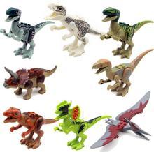 8pcs/set Dinosaurs Jurassic World Dinosaurs Figures Jurassic Building Tyrannosaurus Assemble Blocks Classic with Legoed Kids Toy