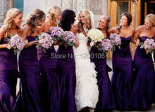2015 Sexy Backless Special Occasion Dress Vestidos Fashion Purple Taffeta Mermaid Long Bridesmaid Dresses