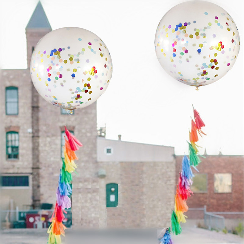 36 inch Big Confetti Balloon Clear Latex Balloons Air Balloons Wedding Decorations Birthday Party Baby Shower Supply