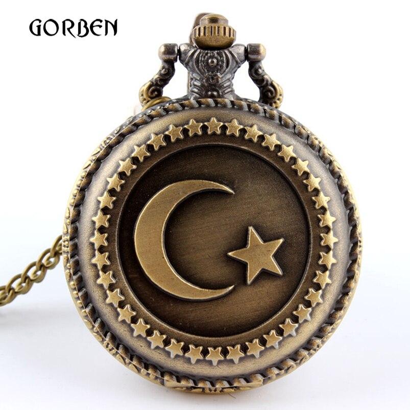 Retro Antique Bronze Moon Star Circle Quartz Pocket Watch Necklace Chain Antique Men Women Pocket fob watches relogio de bolso