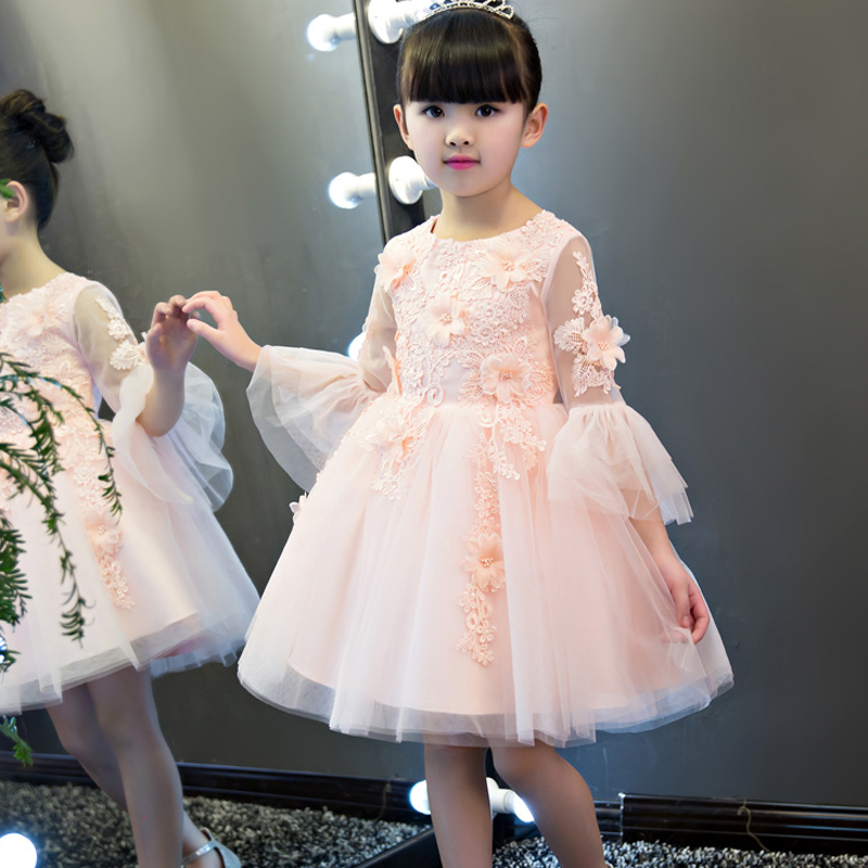2018 Kid Girls Lace Appliques Wedding Dress Girls First Communion Dress Pageant Birthday Party Evening Princes Dresses Girls E642018 Kid Girls Lace Appliques Wedding Dress Girls First Communion Dress Pageant Birthday Party Evening Princes Dresses Girls E64