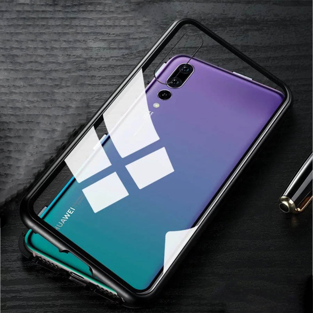 sale retailer 19dbe 2edf5 US $10.19 40% OFF|Magnetic Adsorption phone case for huawei P20 P20pro case  metal frame cover tempered glass for huawei P20 pro luxury fundas-in ...