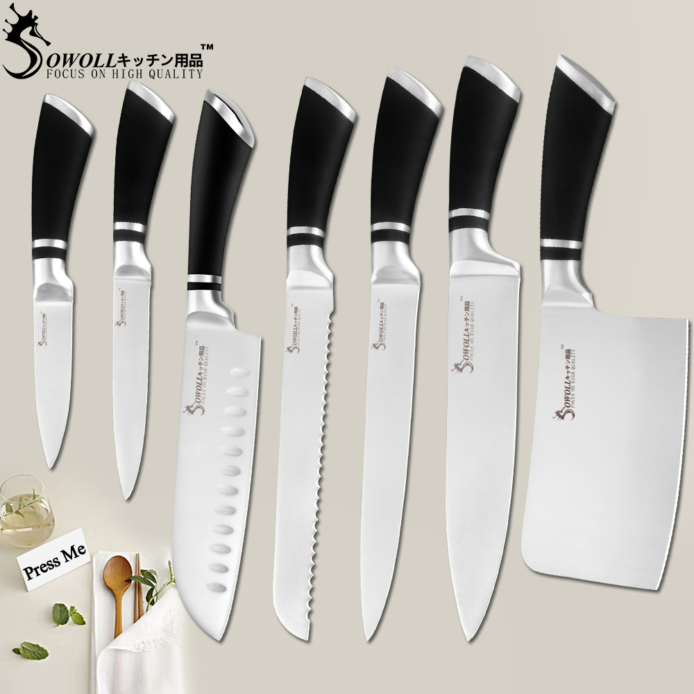 SOWOLL Kitchen Knives Stainless Steel Knives Paring Utility Santoku Bread Slicing Chef Chopping Knife Cooking Accessory Tools(China)