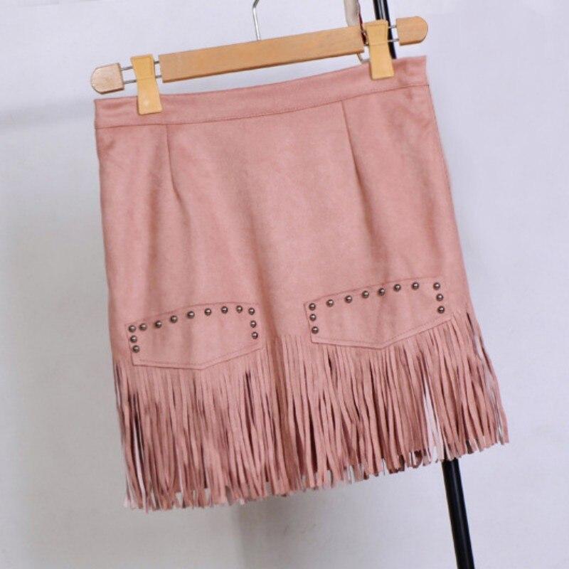 99e55f68f Fashion High Waist Women Skirt High Street Pencil Mini Faux Leather Fringe  Tassel Suede Short Asymmetrical Office Skirt faldas-in Skirts from Women's  ...
