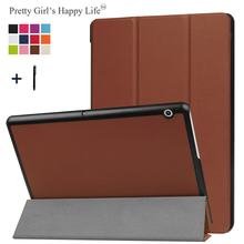 For HUAWEI MediaPad T3 10 9.6'' Case Flip Cover for HUAWEI T3 10(9.6 inch) Tablet 3 Fold Stand Leather Fundas Shell+Stylus(China)