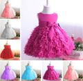 Free Shipping Retail Girl Dresses Children Party Dress Summer Princess Girl Dresses Wedding Dress Flowers Bow 6 Colors