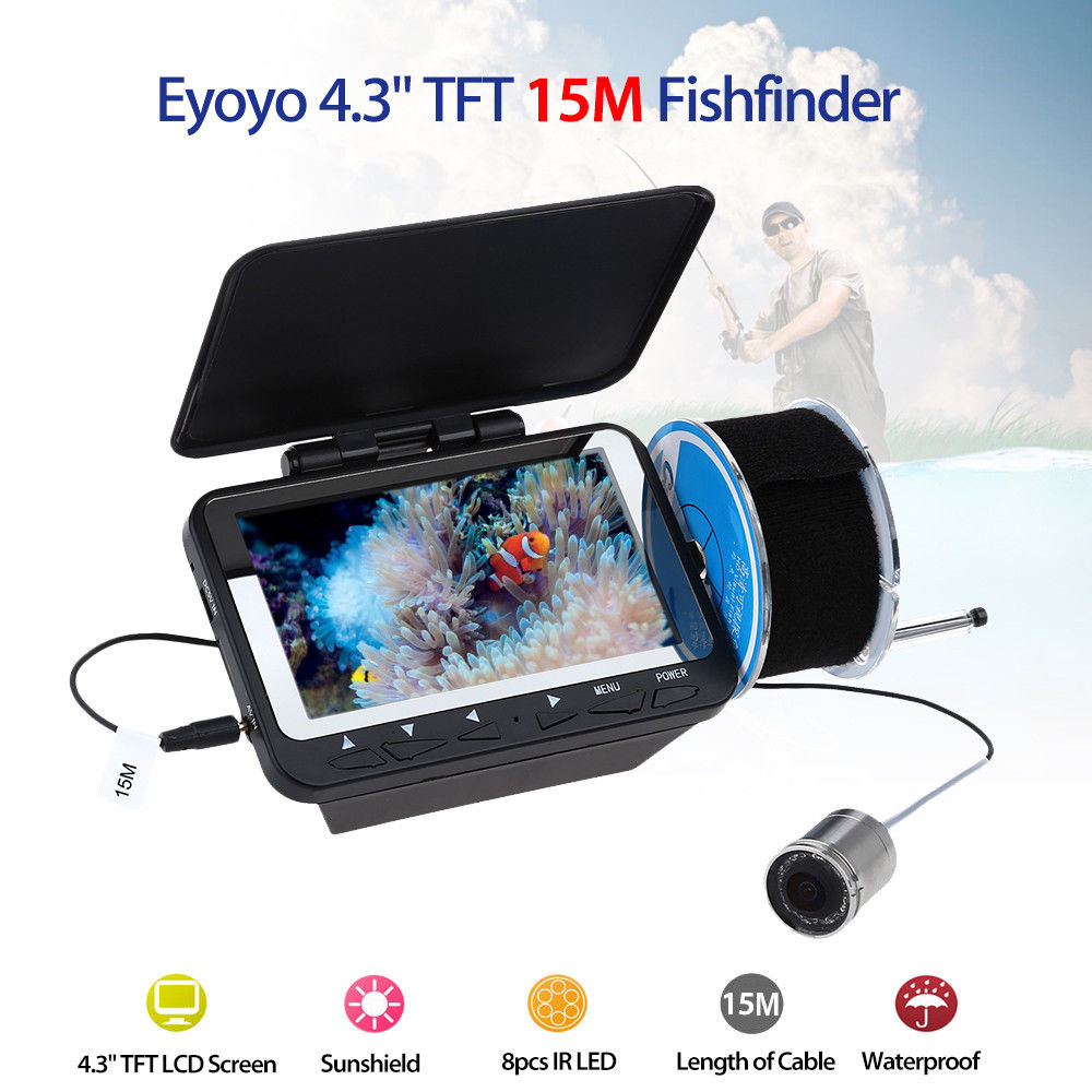 Eyoyo F06 15 M Sous-Marine Pêche Caméra 4.3 TFT Moniteur 8 pcs Vision De Nuit Infrarouge LED Étanche Détecteur de Poissons détecteur