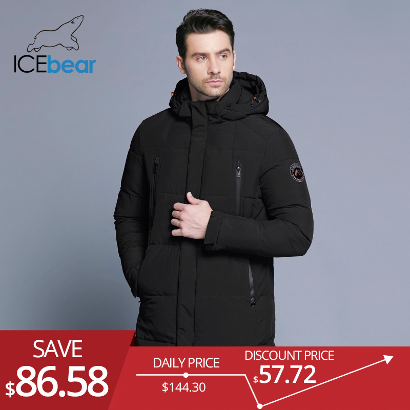 Icebear Winter Jacket Men  Slim Thick Warm Top Quality Waterproof Zipper Clothes For Men Fashion Winter Coats Man 17md942d